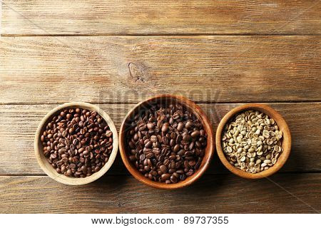 Coffee beans on wooden table, top view