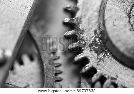 Black And White Macro-photo, Metal Cogwheels In Old Clockwork.