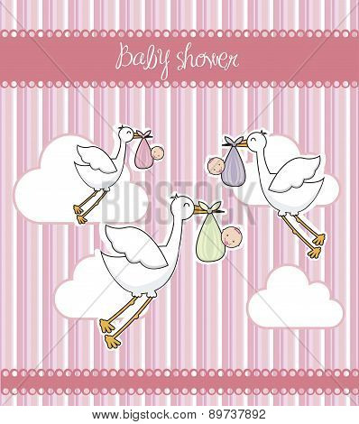 Pink Baby Shower Card With Storks And Babys Vector Illustration