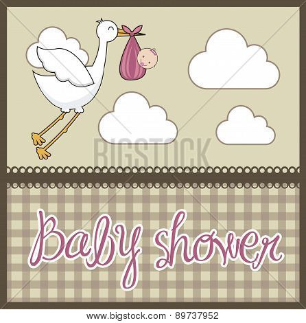Brown Baby Shower Card With Stork With Baby Vector Illustration