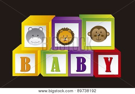 Baby Blocks With Animals And Letters Vector Illustration