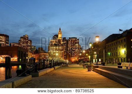 Boston Custom House at night, USA