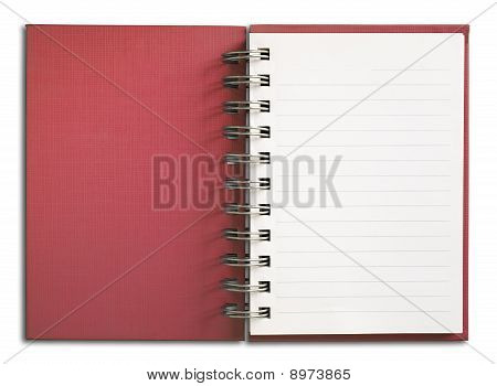 Red Notebook Vertical Single White Page
