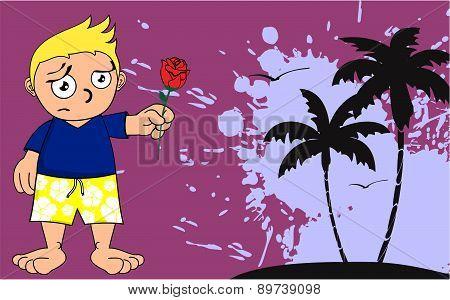 surfer kid rose cartoon background