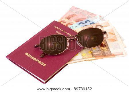Passport With Sunglasses And Money