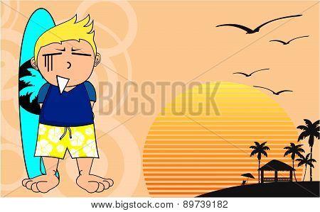 surfer kid cartoon background