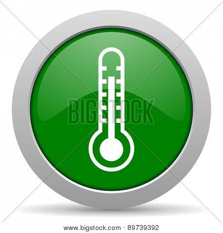 thermometer green glossy web icon