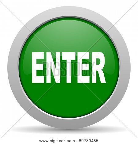 enter green glossy web icon