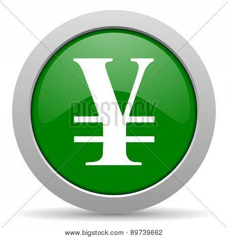 yen green glossy web icon