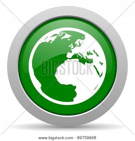 earth green glossy web icon