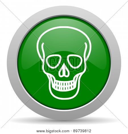 skull green glossy web icon