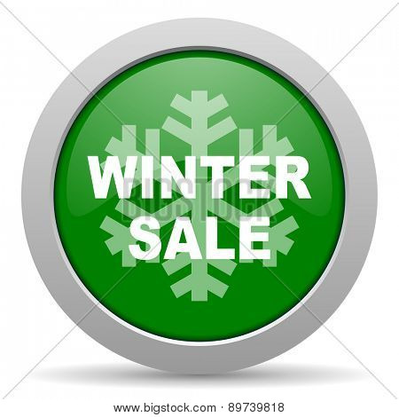 winter sale green glossy web icon