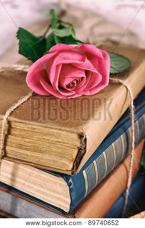 Beautiful pink rose with stack of books, closeup