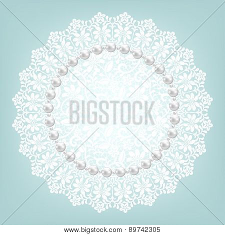 fabric doily and pearls