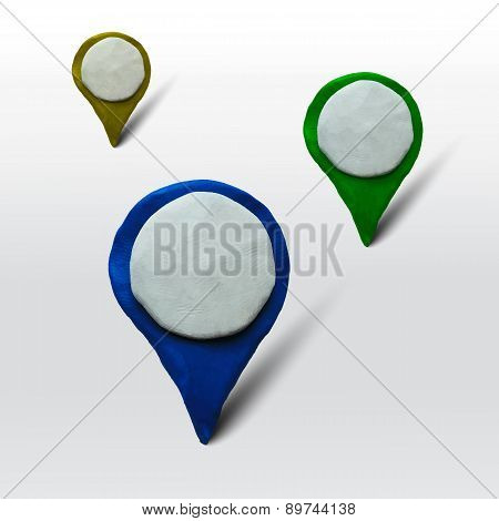 Set of markers for maps or places
