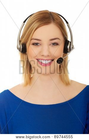 Beautiful young call-center woman smiling.