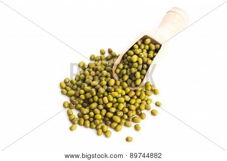 Pile Of Mung Beans Isolated On White