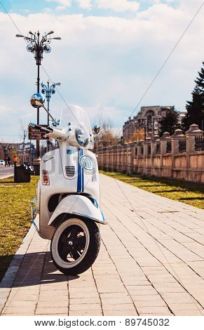 A Vespa Gts 300 Super On The Streets In Bucharest