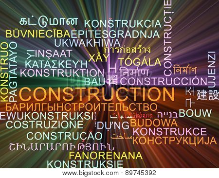 Background concept wordcloud multilanguage international many language illustration of construction glowing light