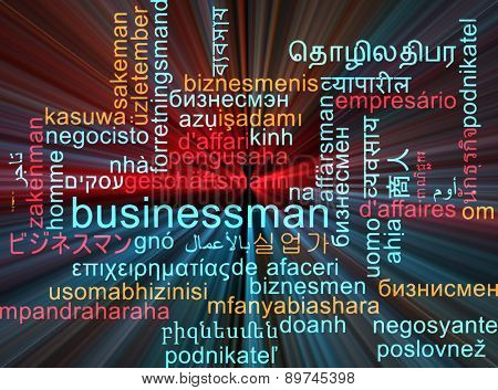 Background concept wordcloud multilanguage international many language illustration of businessman glowing light