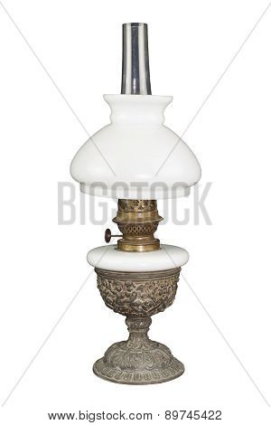 Light from old ages, old kerosene lamp isolated on white