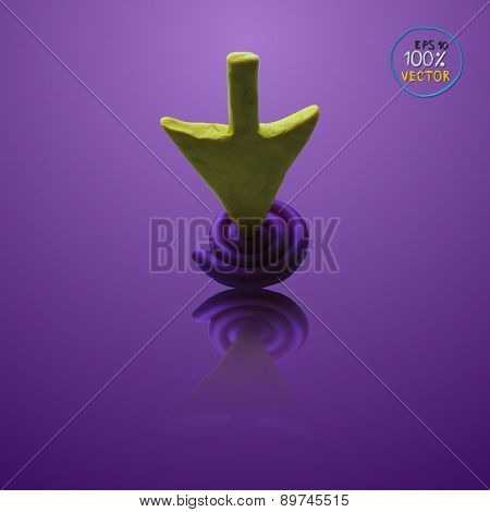 Vector yellow arrow on violet point