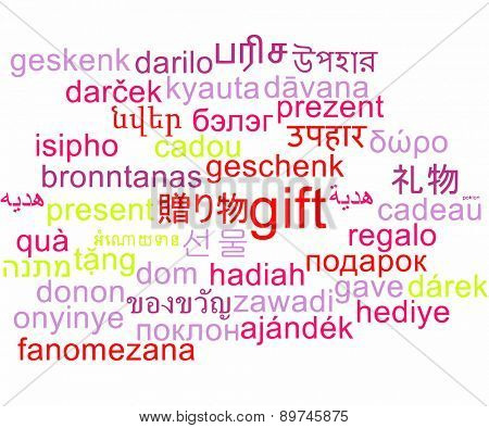 Background concept wordcloud multilanguage international many language illustration of gift