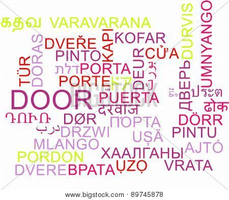 Background concept wordcloud multilanguage international many language illustration of door