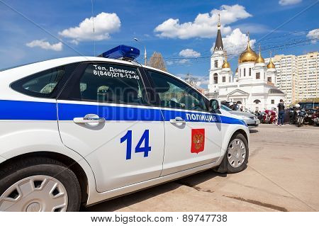 Russian Patrol Vehicle Of The State Automobile Inspectorate During The Traditional Annual Gathering