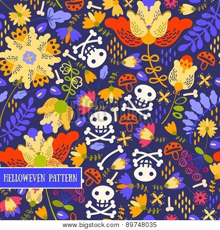 Retro.Seamless pattern voodoo cartoon with different skull and flowers .