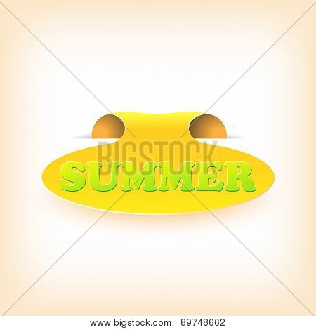 Realistic curved ribbon icon summer. Vector illustration
