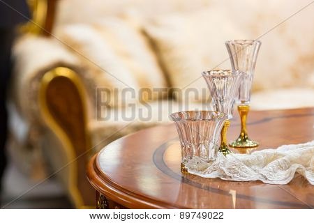 Tree small liqueur glasses