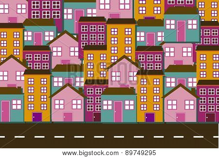 Cute Houses With Street Background Vector Illustration