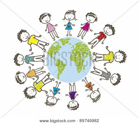 Children Over Planet Drawing Over White Background Vector
