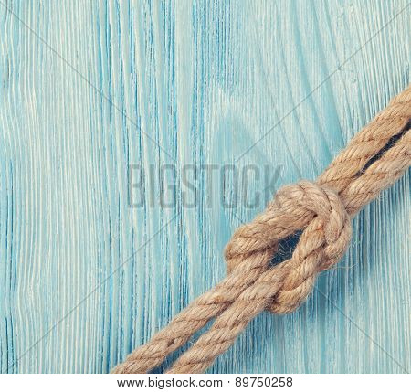 Summer time sea vacation background with marine rope