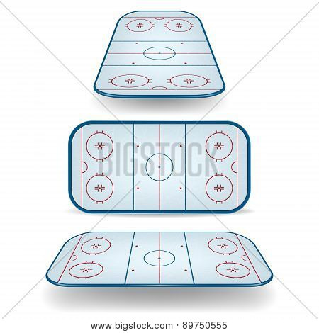 Set Of Ice Hockey Fields With Different Perspectives