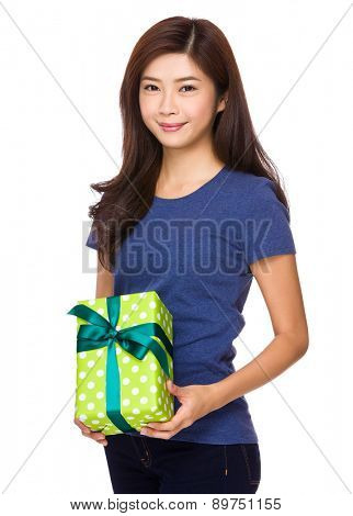 Asian woman hold with present box