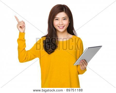Woman use of tablet and finger up