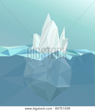 Polygonal iceberg, glacier landscape