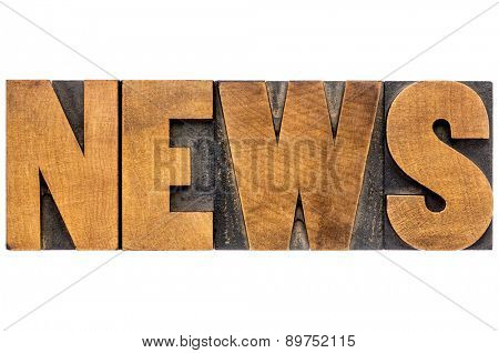 news word typography - top view of isolated text in letterpress wood type