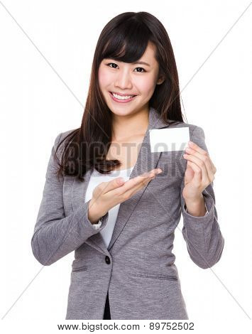 Young businesswoman show with name card