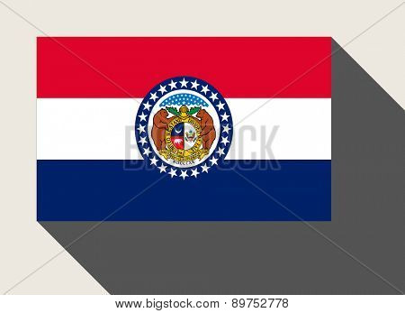American State of Missouri flag in flat web design style.
