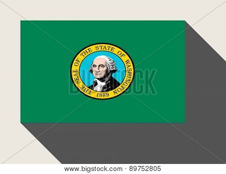 American State of Washington flag in flat web design style.