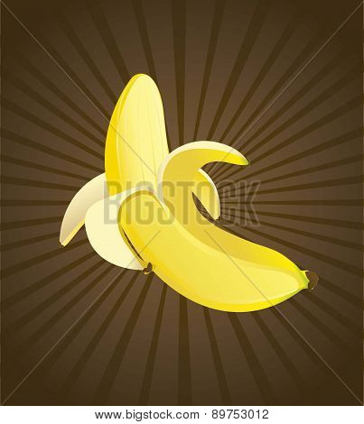 Yellow Banana Over Brown Background Vector Illustration