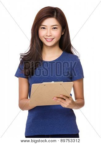 Asian woman with file board