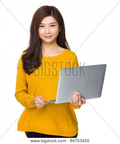 Woman use of notebook computer