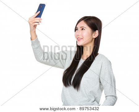 Young woman take selfie