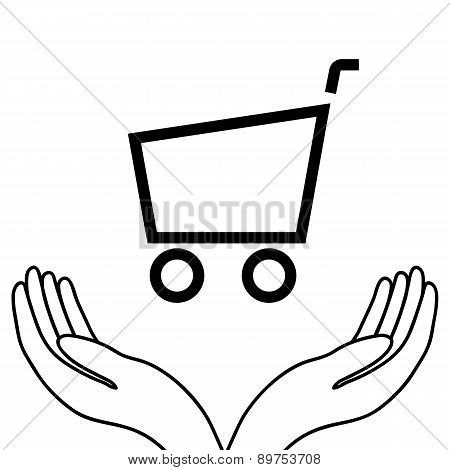 Shopping Trolley In The Hands Of