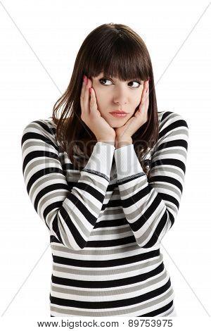 girl looks up with eyes indicating isolated on white background