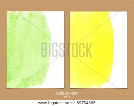 Green and yellow watercolor vector background.